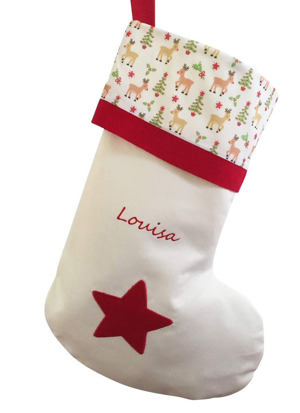 Alpaphet Barn Personalised Christmas Stocking | Xmas Reindeer Design | Kids Babys First Adults Him Her | Handmade in the UK | Embroidered Name | Large Size 50cm Tall Alphabet Barn