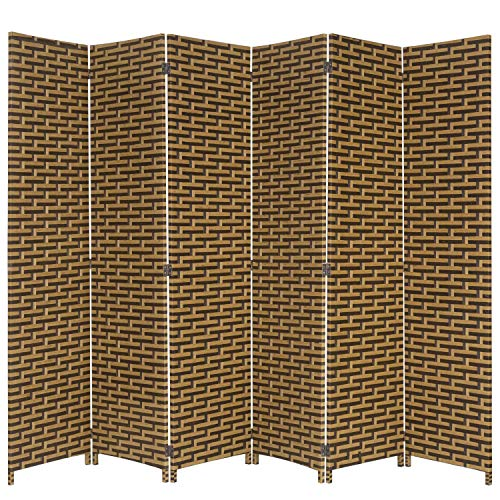 - MyGift 6-Foot Beige and Black Freestanding Wicker Privacy Room Divider with Dual-Action Hinges, 6-Panel