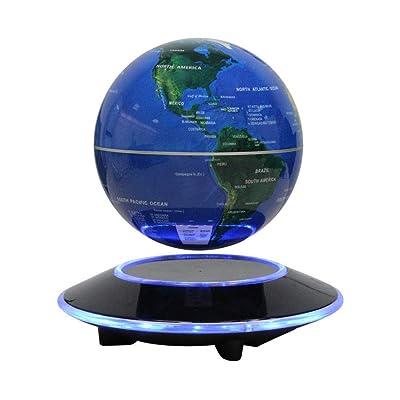 Globo Flotante de levitación magnética Mapa Mundial rotativo - Globo antigravedad para Regalo Educativo - Oficina en casa Decoración de Escritorio de Clase - (Azul EUR Enchufe): Juguetes y juegos
