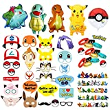 Pokemon Party Supplies Bundle Favors Pack-24 Action Figures,12 Bracelets, 5 Balloons and 26 Photo Booth Props Suitable for Birthday Theme Party
