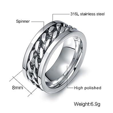 Amazon.com: beeido accesorios de moda anillo de hombre acero ...