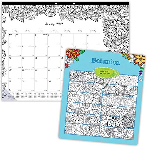 Blueline 2018 Monthly Coloring Desk Pad Calendar, Botanica, January - December, 22 x 17 inches ()