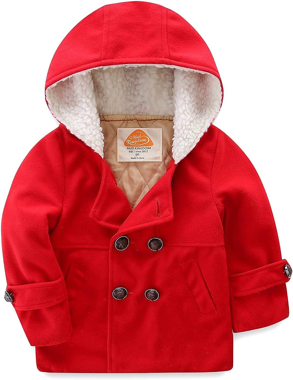 Mud Kingdom Boys Dress Coats with Hood Faux Wool Overcoat: Clothing