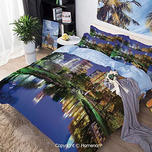 Homenon Bedding Sheets Set 3-Piece Bed Set,North Carolina Marshall Park United States American Night Reflections on Lake Photo,Full Size,100% Microfiber Super Soft,Breathable,Multicolor