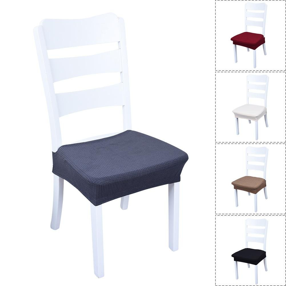 Chair Seat Covers,SHZONS 5pcs Removable Elastic Dining Chair Cover Protectors Stool Slipcovers for Bar Stools Dining Room Patio Office Chair