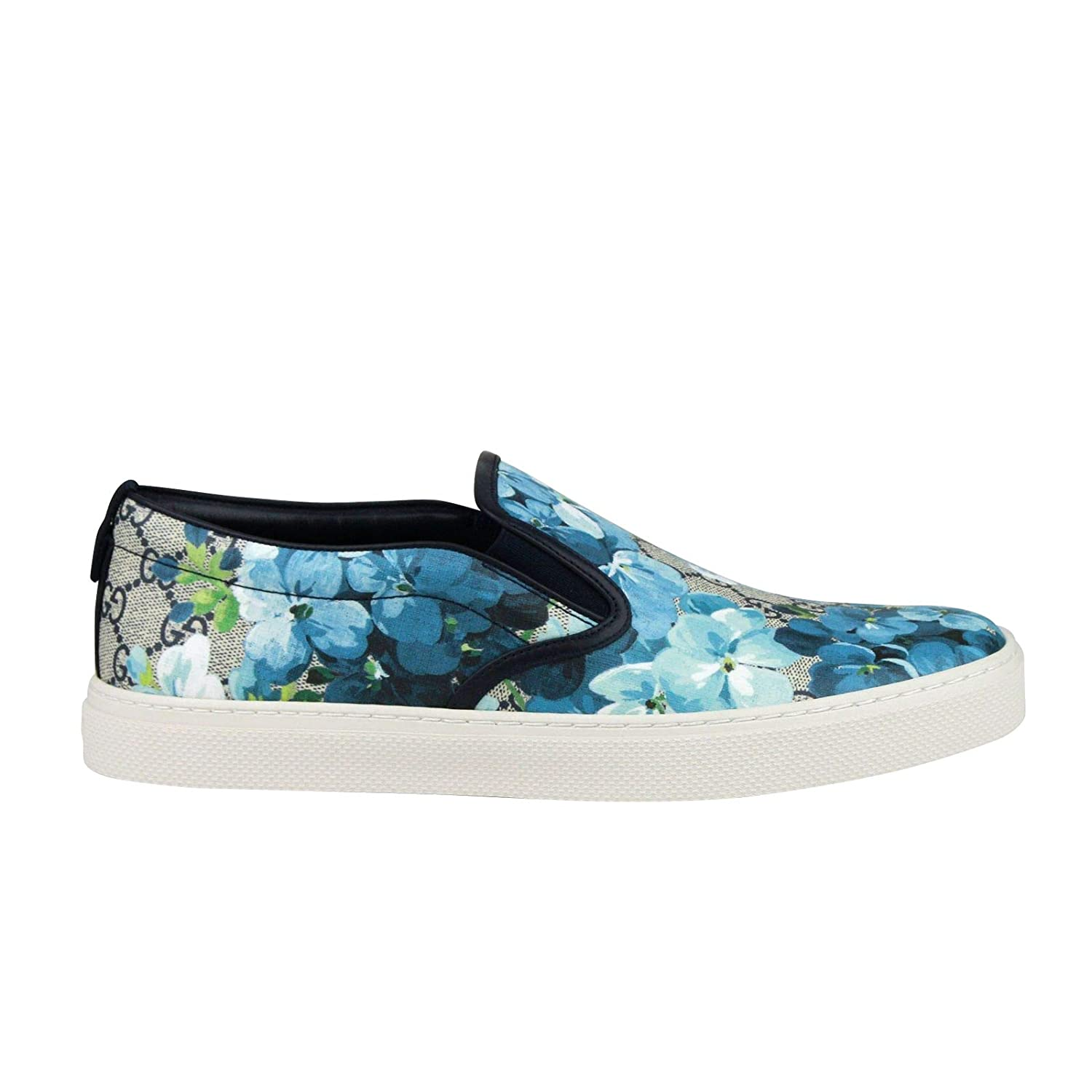 Com Gucci Bloom Flower Print Blue Gg Supreme Coated Canvas Slip Sneakers 407362 8471 Shoes