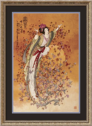 Framed Art Print, Goddess of Wealth' by Chinese: Outer Size 22 x 30 ()