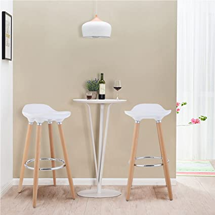 Gentil Costway Set Of 2 Barstools Modern Counter Height Bistro Pub Side Chairs  With Wooden Legs White