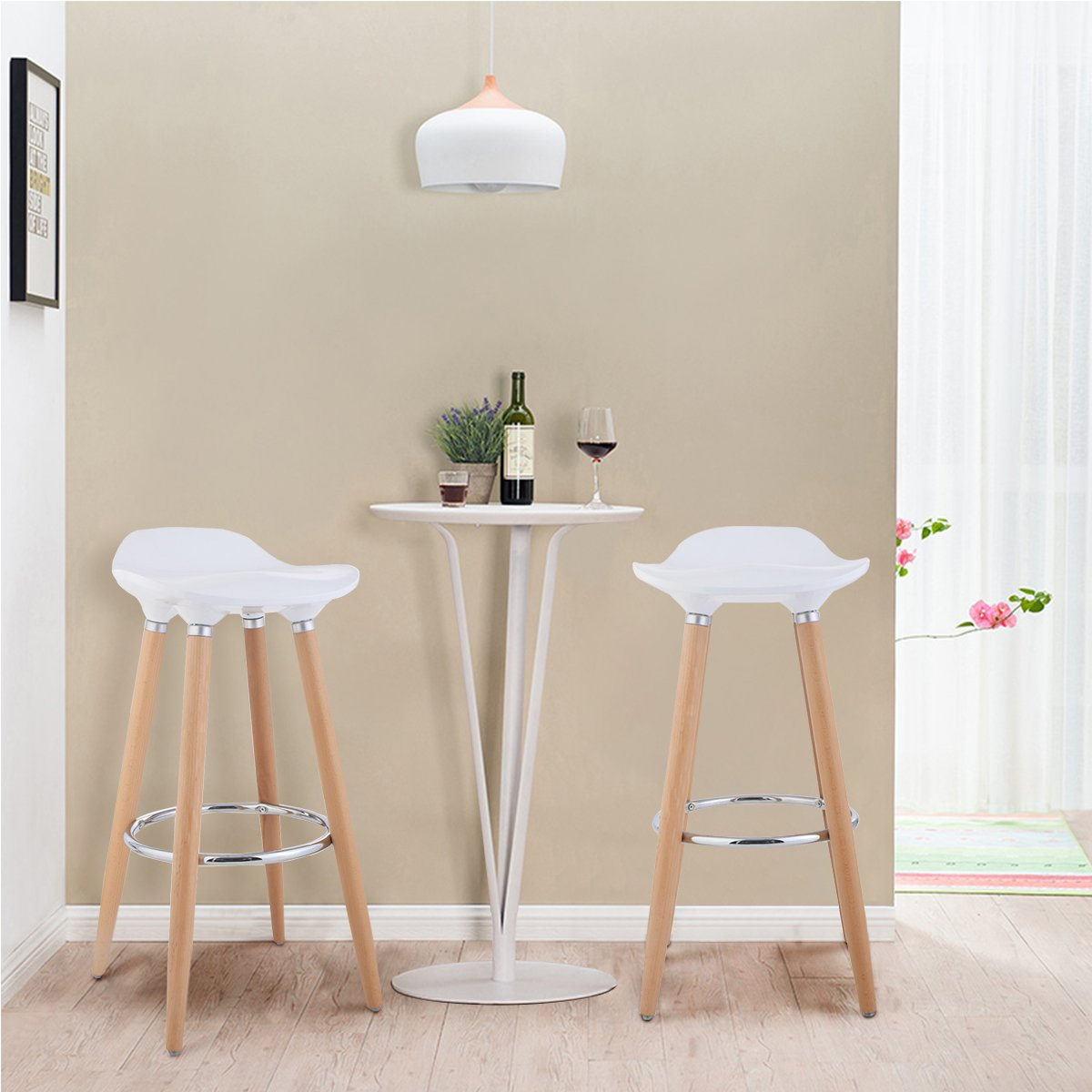 COSTWAY Set of 2 Barstools Modern Counter Height Bistro Pub Side Chairs with Wooden Legs White by COSTWAY