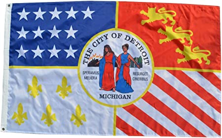 3/'X5/' Flag Banner USA Michigan Detroit city Brass grommets 90*150cm