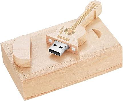 32 GB Guitarra de madera maciza de alta velocidad USB 2.0 Flash Drive Memoria USB Stick almacenamiento de datos Pendrive pulgar disco con caja de madera: Amazon.es: Electrónica
