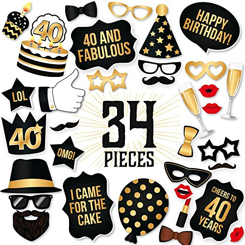 40th Birthday Photo Booth Props Fabulous Forty Party
