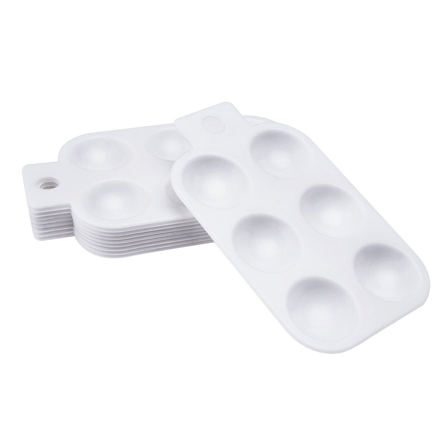 10 Pieces Plastic Watercolor Oil Palette Painting Tray with Hand Shank 6 Well Rectangular, White Outus