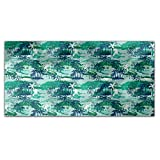 Paradise Island Green Rectangle Tablecloth: Medium Dining Room Kitchen Woven Polyester Custom Print