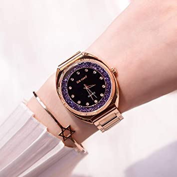 ERGWGREH Reloj 2018 Tendencia Agua Martillo señoras Reloj Premium Impermeable Banda de Acero Reloj de Cuarzo