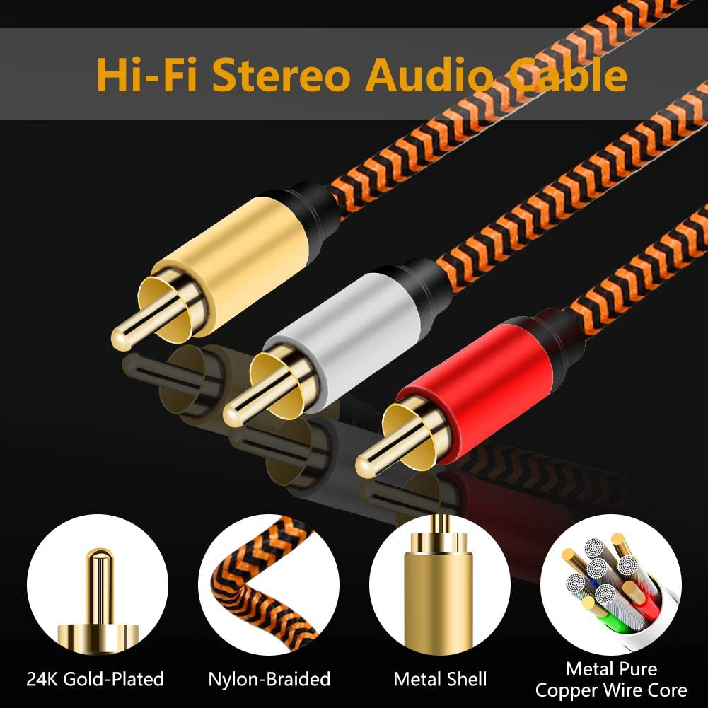 20ft Audio Video RCA Cable 20ft,3RCA to 3RCA Composite AV Cable Compatible with Set-Top Box,Speaker,Amplifier,DVD Player,24K Gold Plated