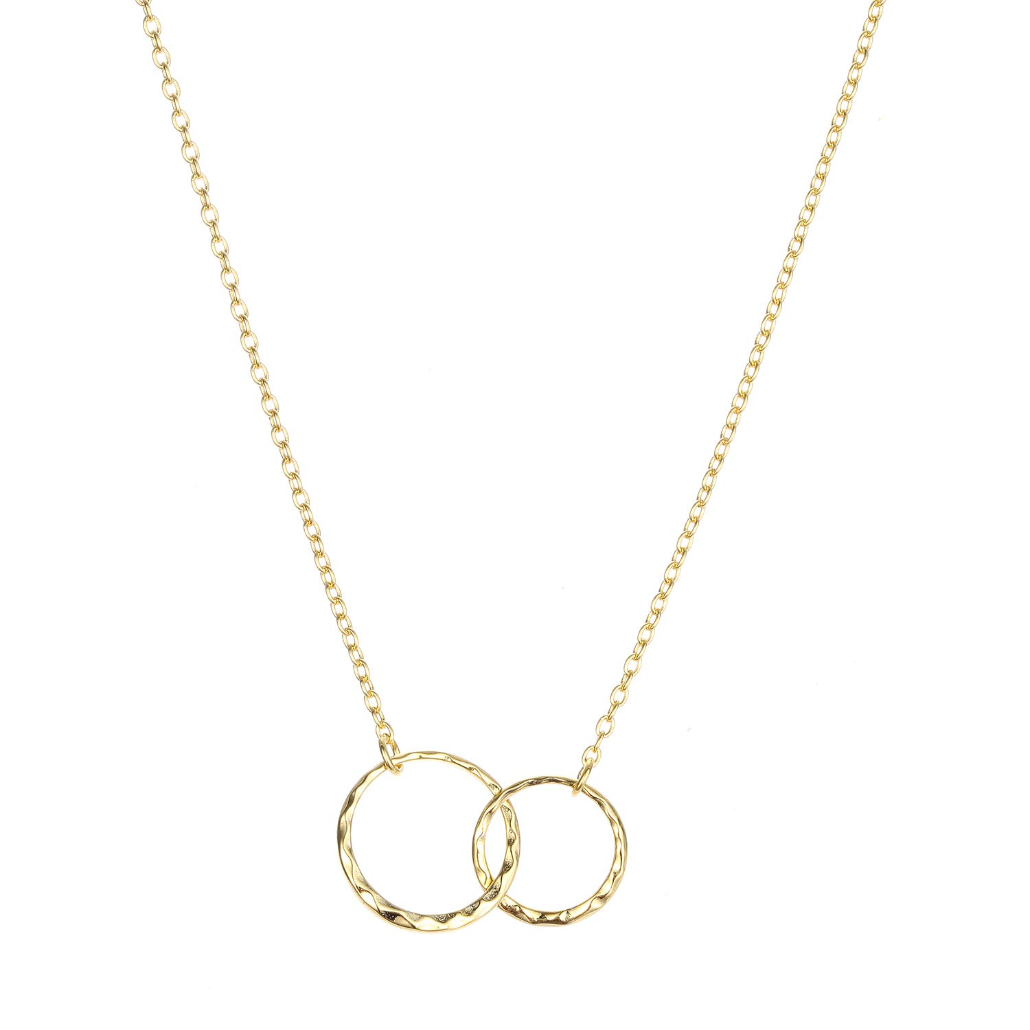 925 Sterling Silver Mother Daughter Necklace Gold-plated Hammered Two Interlocking Infinity Double Circles Necklace