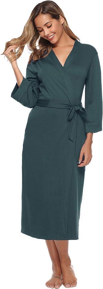 Iclosam Robe De Chambre Femme Coton Peignoir Femme Leger Coton Kimono Femme Avec Ceinture Pour Toutes Les Saisons S Xxl Amazon Fr Vetements Et Accessoires