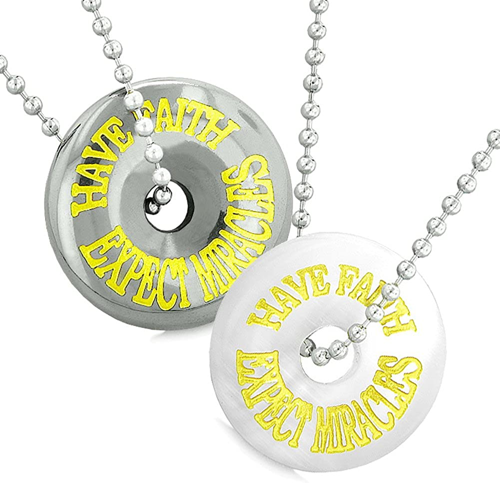 Amulets haben Faith Expect Miracles Love Couples Lucky Donuts White Simulated Cats Auge Hematite Necklaces