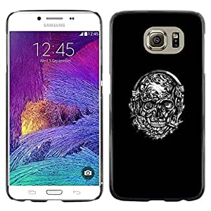 Paccase / SLIM PC / Aliminium Casa Carcasa Funda Case Cover - Skull Black Wreath White Smoking - Samsung Galaxy S6 SM-G920