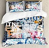 Fitness King Size Duvet Cover Set by Ambesonne, Health Wellness Aerobics Sports Words Collection on Grunge Vintage Style Backdrop, Decorative 3 Piece Bedding Set with 2 Pillow Shams, Multicolor