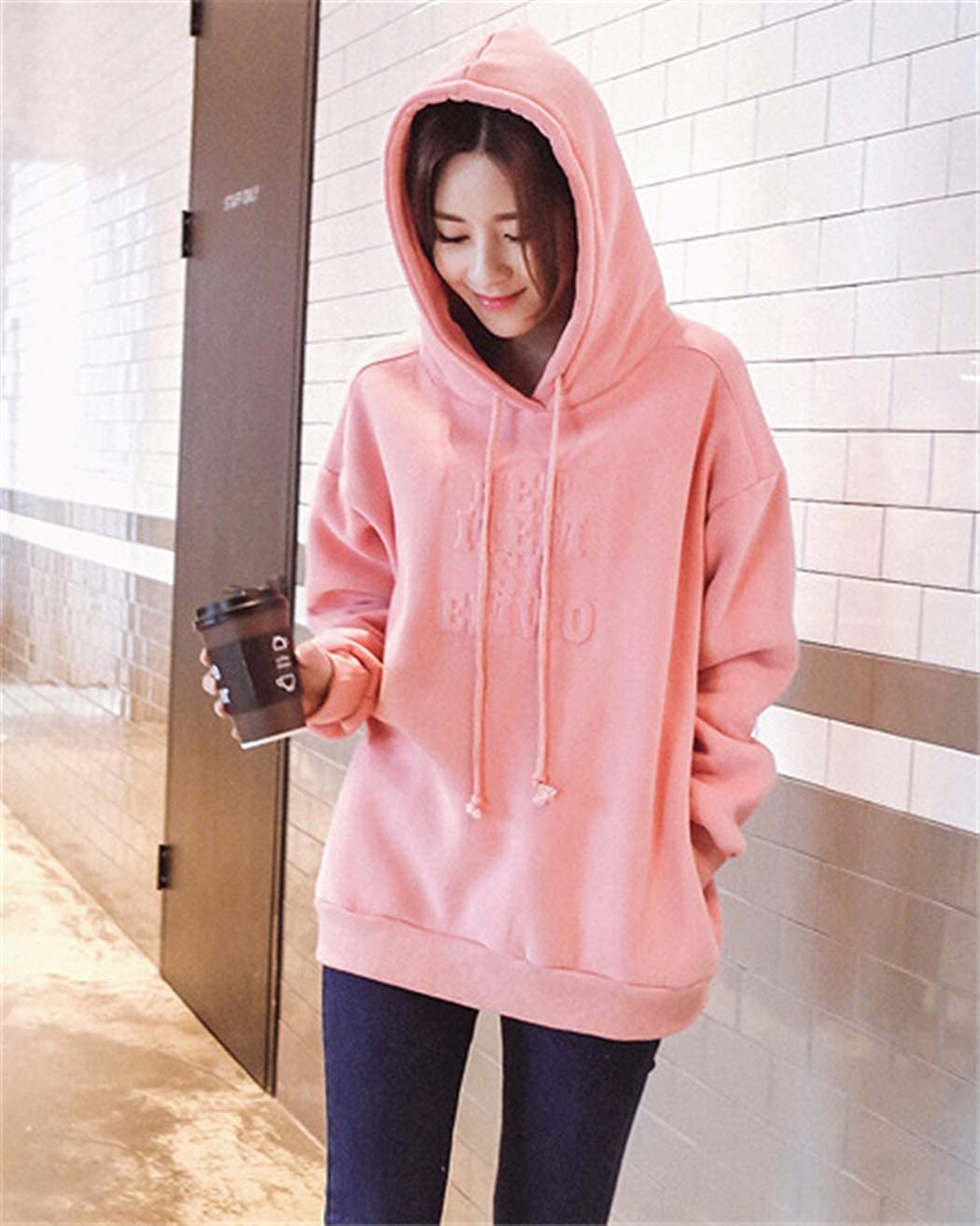 ZDSYWQ Autumn and Winter Womens 3D Letter Printing Hoodie Long-Sleeved Loose Plus Velvet Sweater