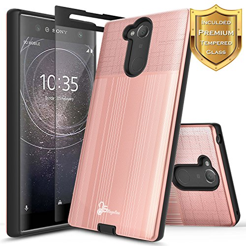 NageBee [Brushed] Case Compatible with Sony Xperia XA2 Ultra w/[Full Coverage Tempered Glass Screen Protector] Premium Heavy Duty Armor Defender Dual Layer Protective Shock Proof Case (Rose Gold)