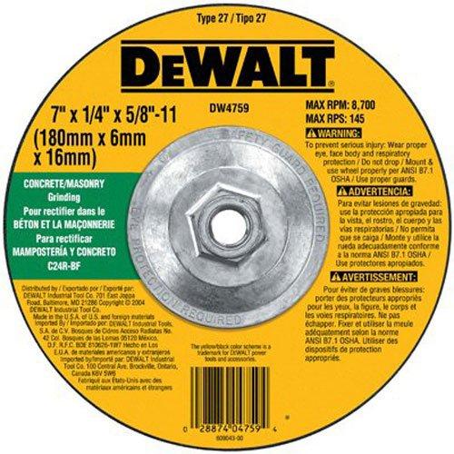 DEWALT DW4759 7-Inch by 1/4-Inch by 5/8-Inch-11 Concrete/Masonry Grinding Wheel - Dewalt Angle Grinder 7 Inch