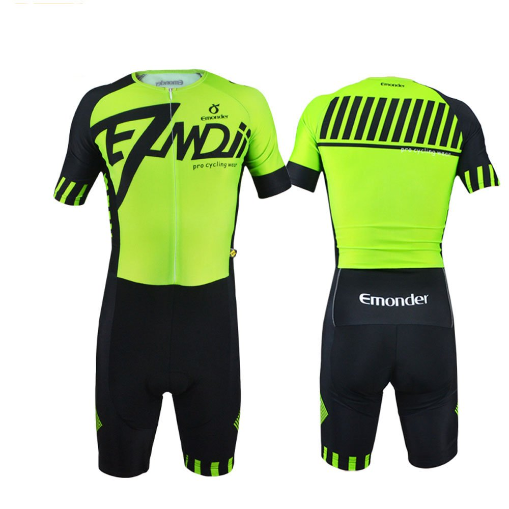 EMONDER Mens Triathlon Short Sleeve Tri Suit Breathable Quick Dry Team Skinsuit Bike Swim Run