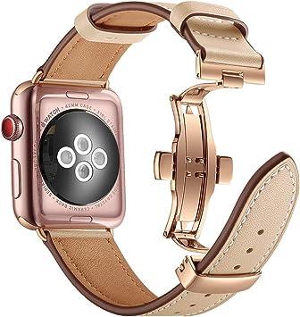 Myada Correa Apple Watch 38mm Piel, Correa Apple Watch Series 4 40mm, Pulsera Apple Watch 4 Metal de con Cierre Magnético, Pulsera Reemplazo para iWatch Serie 1/2/3/4: Amazon.es: Belleza