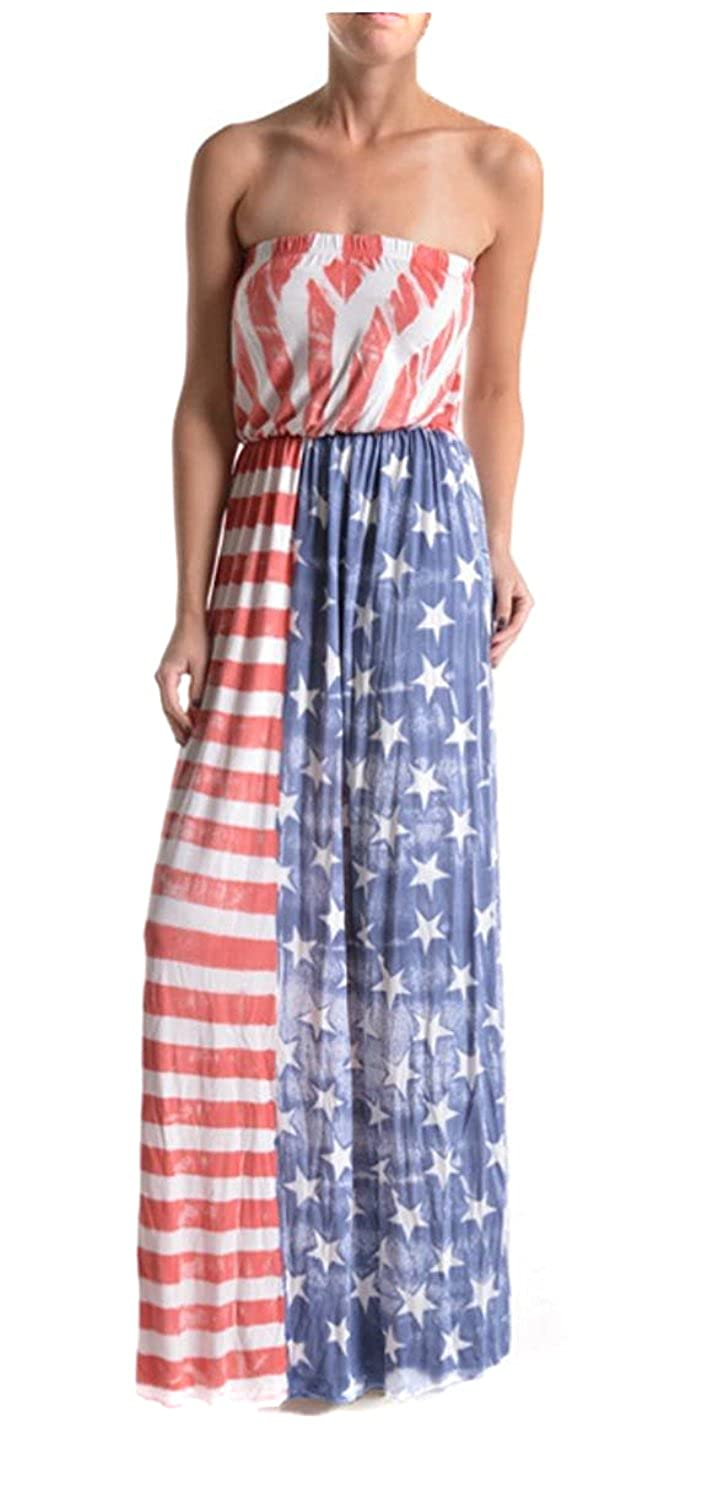 88cd55c8360 Top9  Fourever Funky Vintage American Flag Strapless Tube Dress Made In USA  Stars Stripes