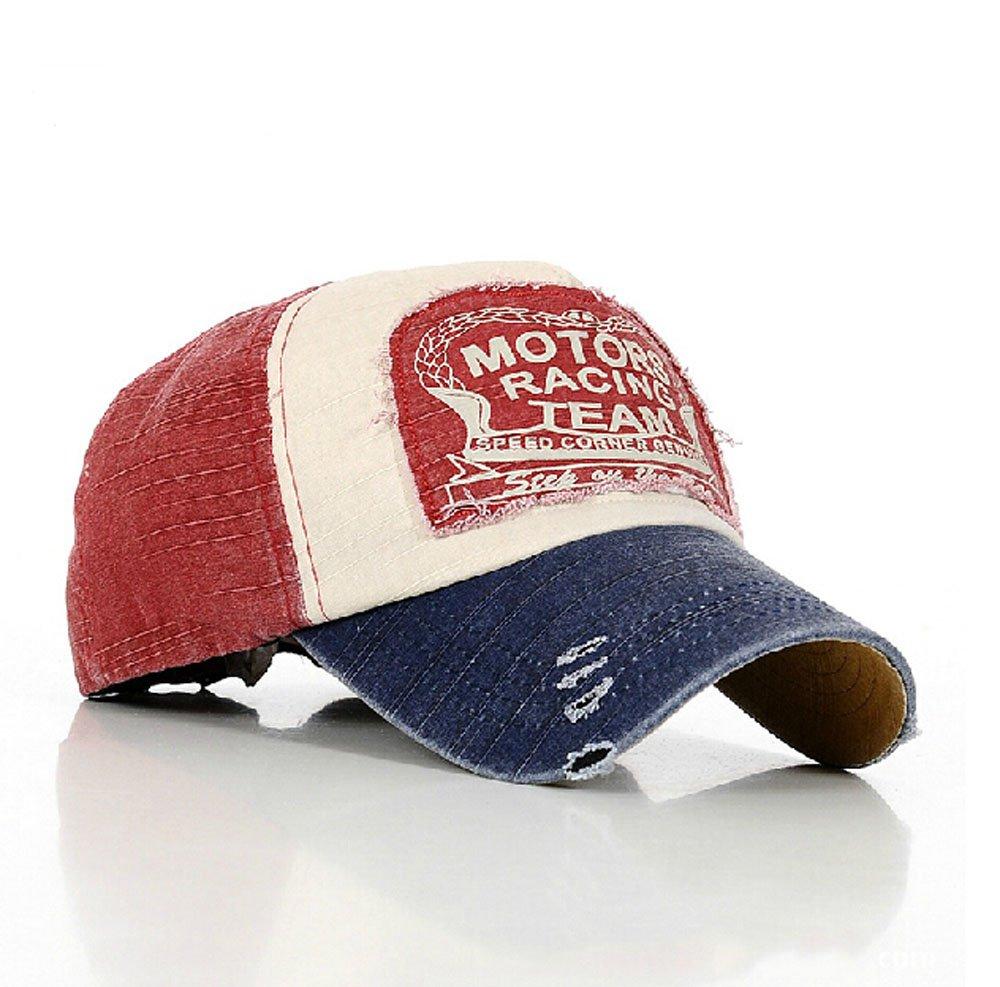 d4922fb7da5 Elwow Hot Red Fashion Distressed Vintage Cotton Baseball Cap Snapback  Trucker Hat Hiking Hat  Amazon.co.uk  Sports   Outdoors