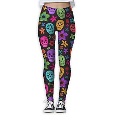 f029530ed1a6f Mipu Shangmao colorful Sugar Skull Flowers Women's Yoga Trousers Color  Print Training Leggings at Amazon Women's Clothing store: