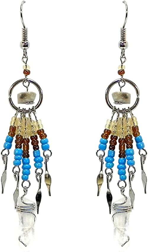 Spirit Of Nature Large Crescent Moon Seed Bead Dangle Handmade Hook Earrings