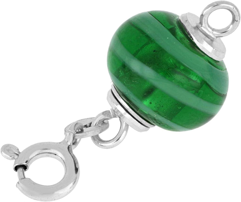 Sterlingsilber rhodiniert 925// Kettenworld Magnetschliesse Muranoglas