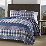 N2 3 Piece Blue Purple Plaid Stripes Pattern Quilt Twin Set, Beautiful Classic Wide Shirting Stripe-Inspired Print, Solid Diamond Tufted Reverse Bedding, Dusty Colors, Vintage Country Style, Cotton
