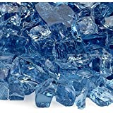 American Fireglass 10-Pound Fire Glass with Fireplace Glass and Fire Pit Glass, 1/2-Inch, Pacific Blue