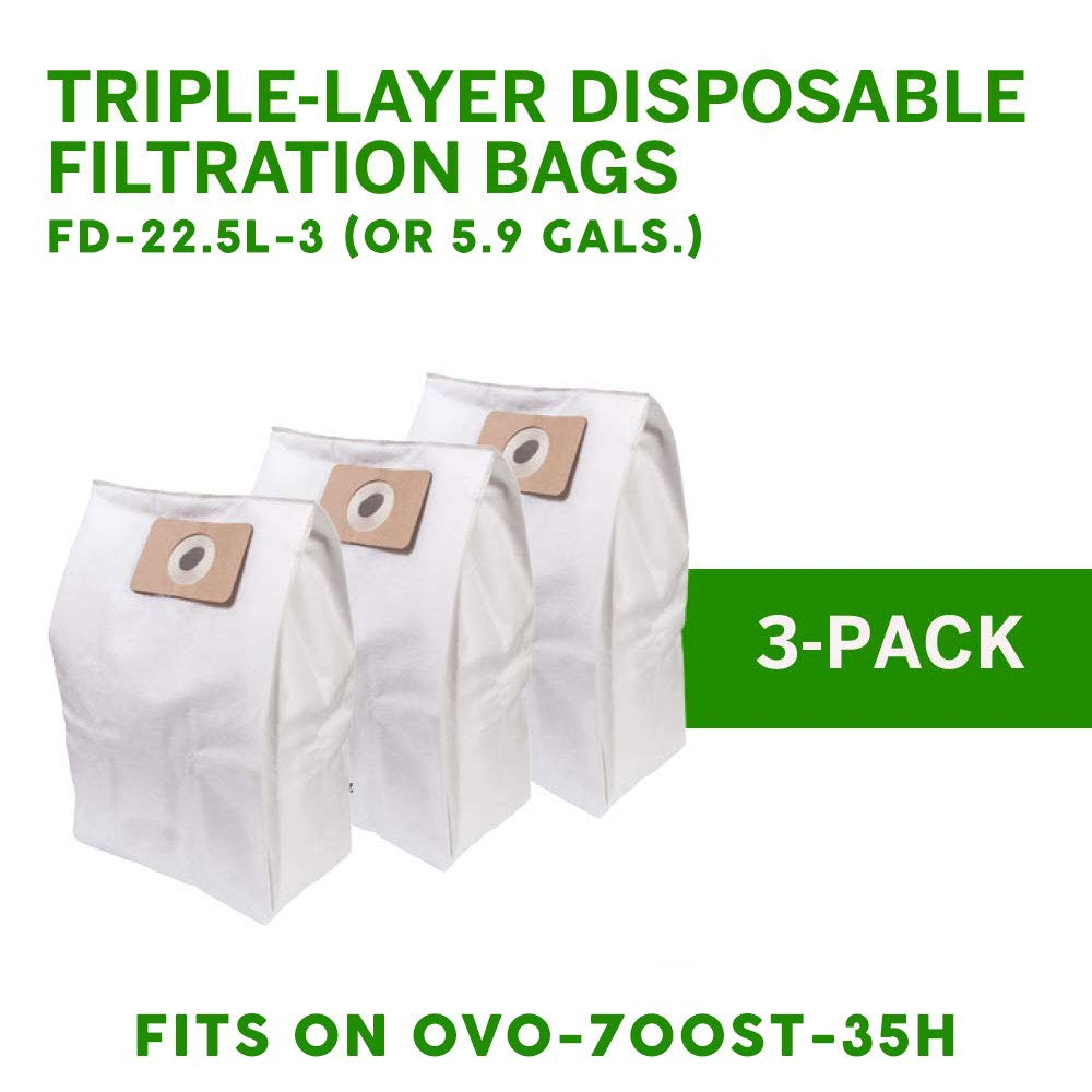 OVO Central Vacuum Bags - Triple Layer Disposable Filtration Bag 22.5L/ 5.81 Gal. for OVO-630ST-25H & OVO-700ST-35H
