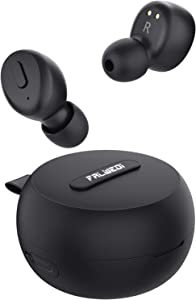 Falwedi IPX8 Waterproof Bluetooth 5.0 True Wireless Earbuds, 30H Cyclic Playtime TWS Stereo Headphones for iPhone Android with Charging Case, in-Ear Earphones Headset with mic for Sport/Travel/Gym