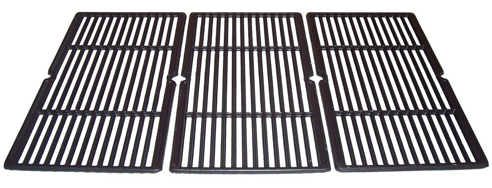 Music City Metals 66663 Matte Cast Iron Cooking Grid Replacement for Select Charbroil and Presidents Choice Gas Grill Models, Set of 3
