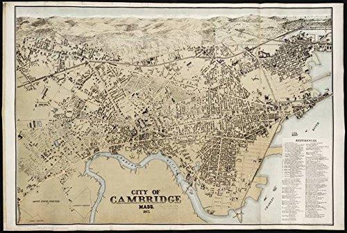 Imagekind Wall Art Print entitled Vintage Map Of Cambridge Massachusetts (1877) by Alleycatshirts @Zazzle | 48 x - Map Massachusetts 1877