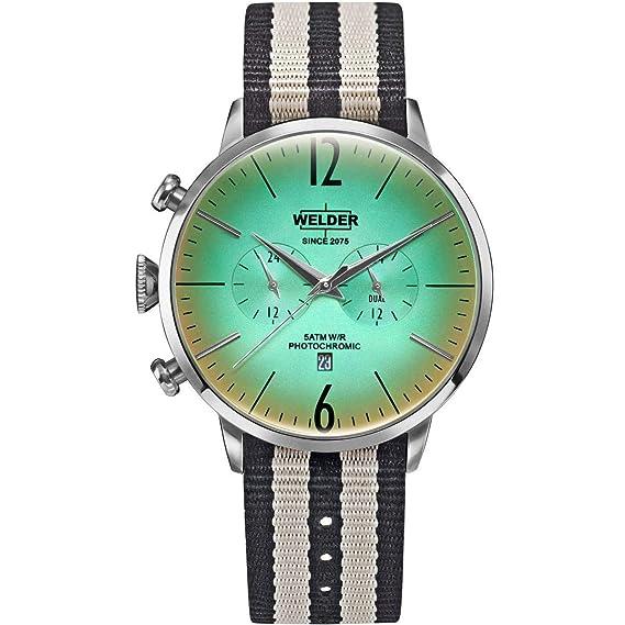 Welder Strapy Reloj de Hombre Cuarzo 45mm Correa de Nylon dial Verde WWRC501