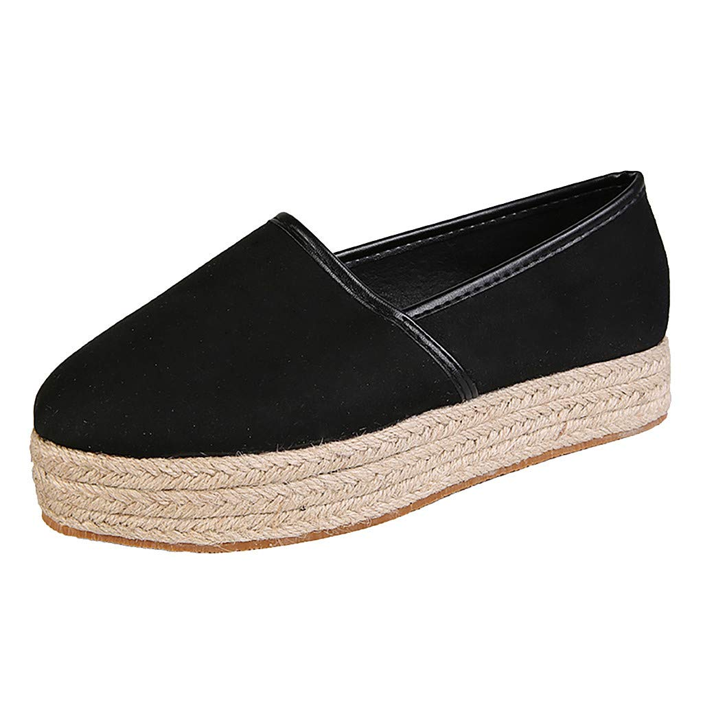 Women's Flat with Shoes Canvas Round Toe Rome Plus Size Basic Ankle Casual Pumps Shoes Black