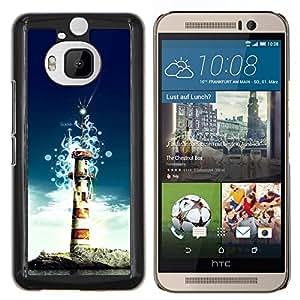Qstar Arte & diseño plástico duro Fundas Cover Cubre Hard Case Cover para HTC One M9Plus M9+ M9 Plus (Faro de la isla)