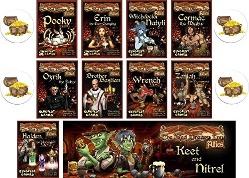 Dragon Treasure Chest - BUNDLE of 10 Red Dragon Inn Character Expansion Decks plus 4 Treasure Chest Buttons