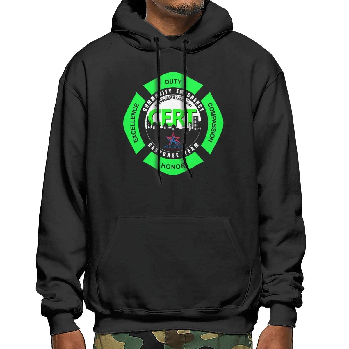 Sanda CERT Community Emergency Response Team Mens Hooded Sweatshirt Black