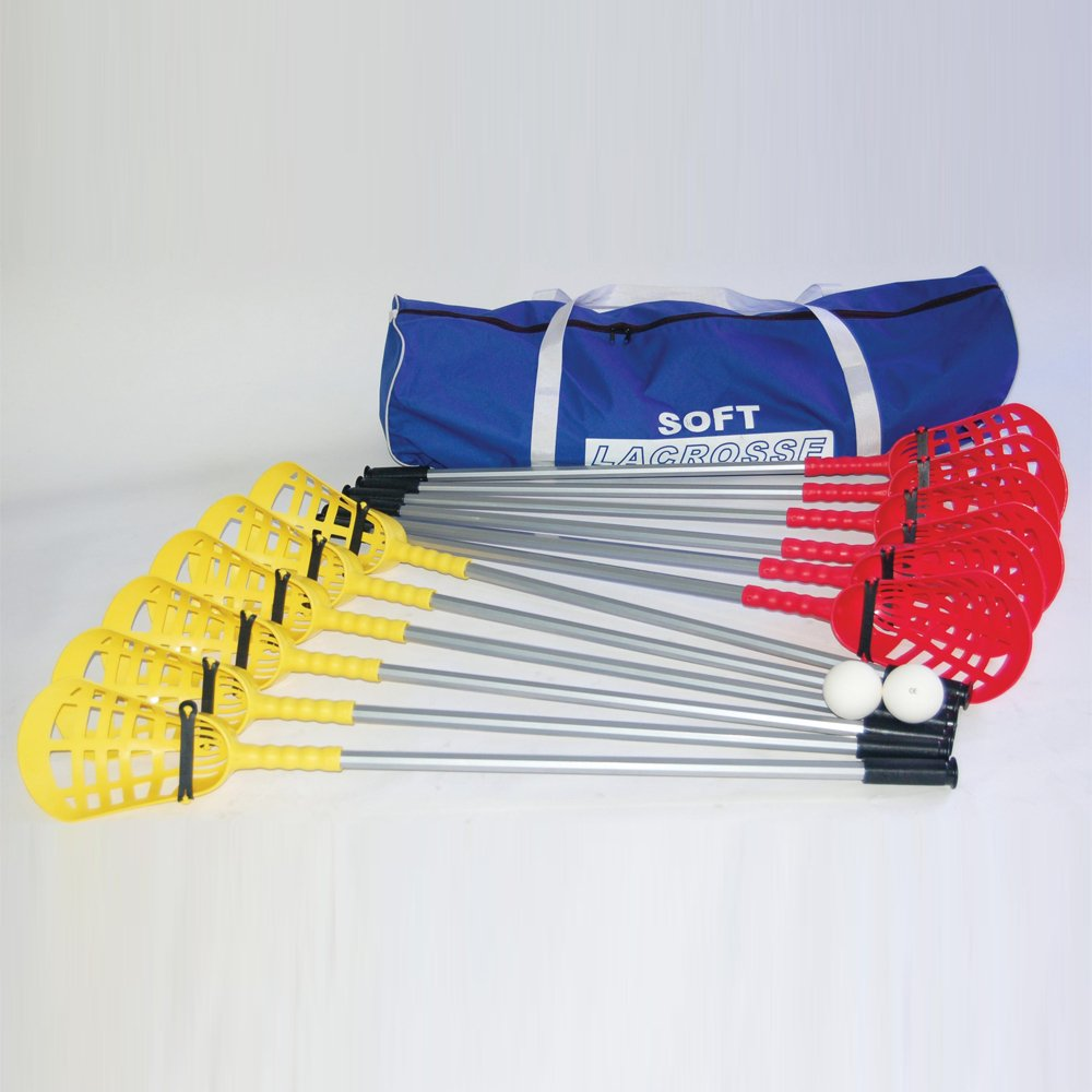 Soft Lacrosse Set Of 12 Sticks & 2 Balls In Bag
