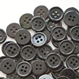 GANSSIA 5/8 Inch Button 15mm Sewing Flatback Buttons Colored Black Pack of 160 Pcs