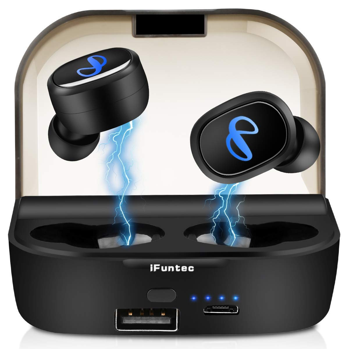 Bluetooth 5.0 Wireless Earbuds TWS Bluetooth Headphones 80H Playtime Bluetooth Earbuds Wireless Headphones Bluetooth Headset Mini Stereo Sound in-Ear Earphone with 2600mAh Charging Case