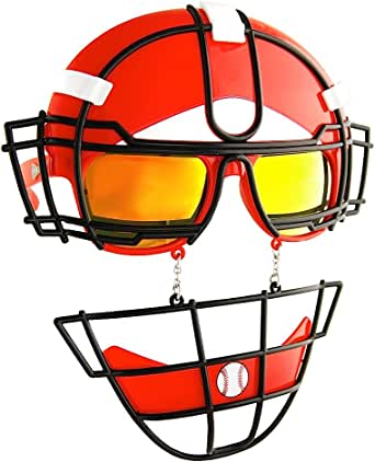Amazon.com: Red Reflective Lens Catcher's Mask Game Shades